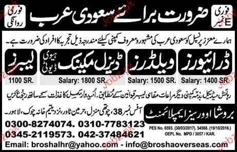 Drivers, Welders, Diesel Mechanics and Labors Wanted