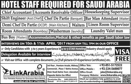 Hotel Staff Required for Saudi Arabia