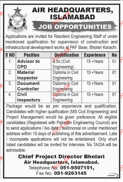 Advisors, Material Inspectors, Civil Inspector Job in AHQ