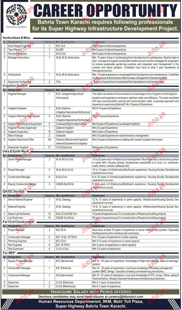 senior project manger  manager horticulture job opportunity 2019 job advertisement pakistan