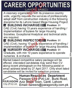 Building Incharge, Building Inspectors Job Opportunity