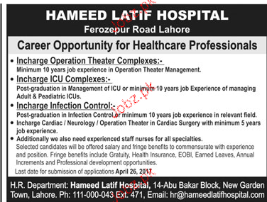 Incharge Operation Theater Job Opportunity