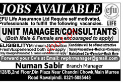 Unit Managers / Consultants Job Opportunity