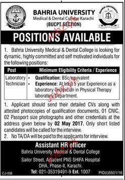 Laboratory Technicians Job in Bahria University