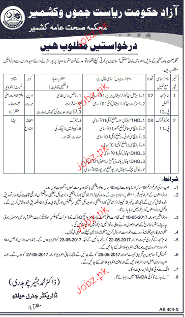 Immam Masjid and Junior Clerk Jobs in Health Department