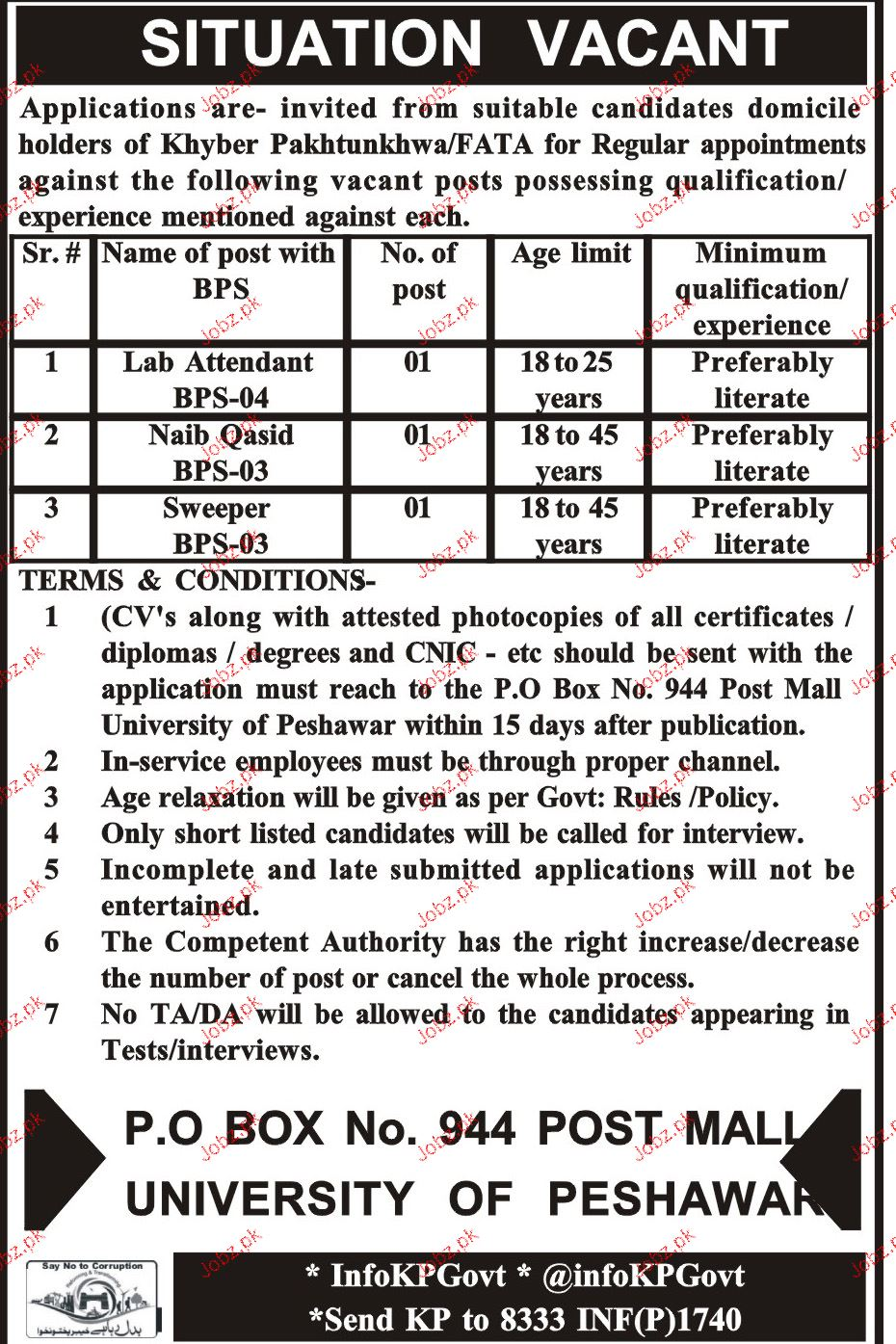 Lab Attendants, Naib Qasid and Sweepers Job Opportunity