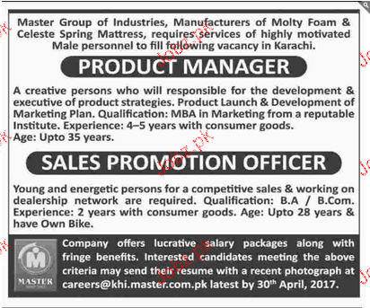 Product Managers and Sales Promotion Officers Wanted