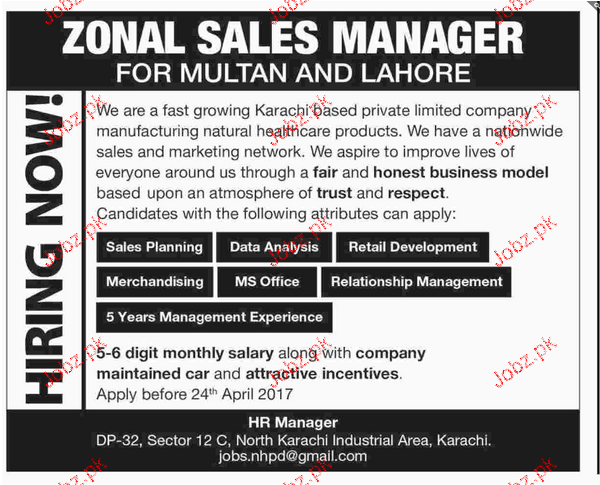 Zonal Sales Managers Job Opportunity