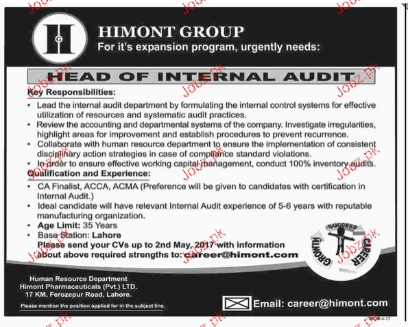Head of Internal Audit Job Opportunity