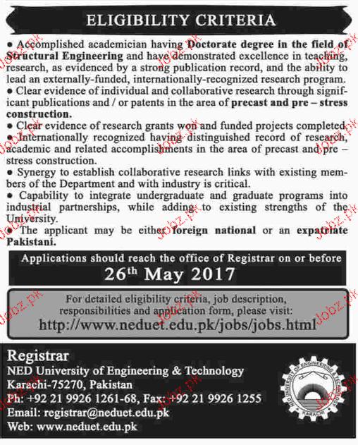 Professors Job in NED University of Engineering