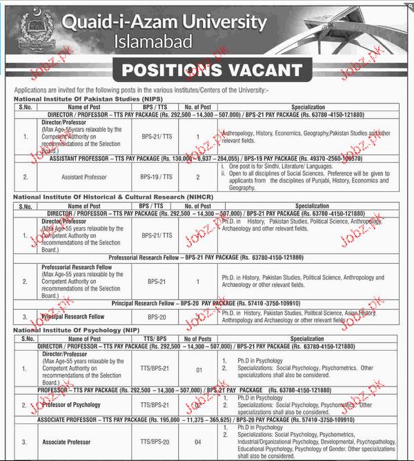 Teaching Jobs in Quaid-I-Azam University