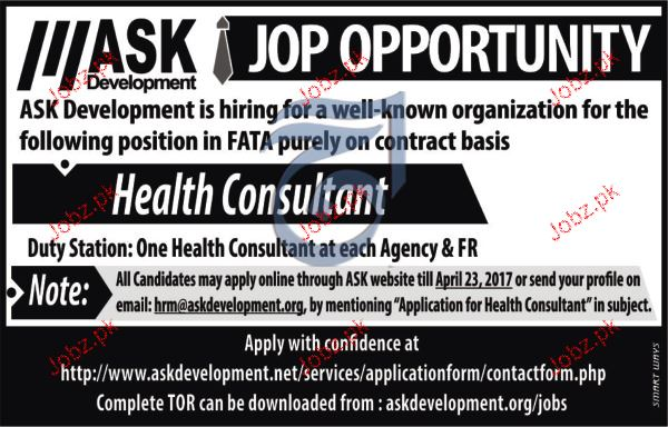 Health Consultants Job Opportunity