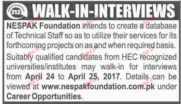 Teaching Staff Job in NESPAK Foundation