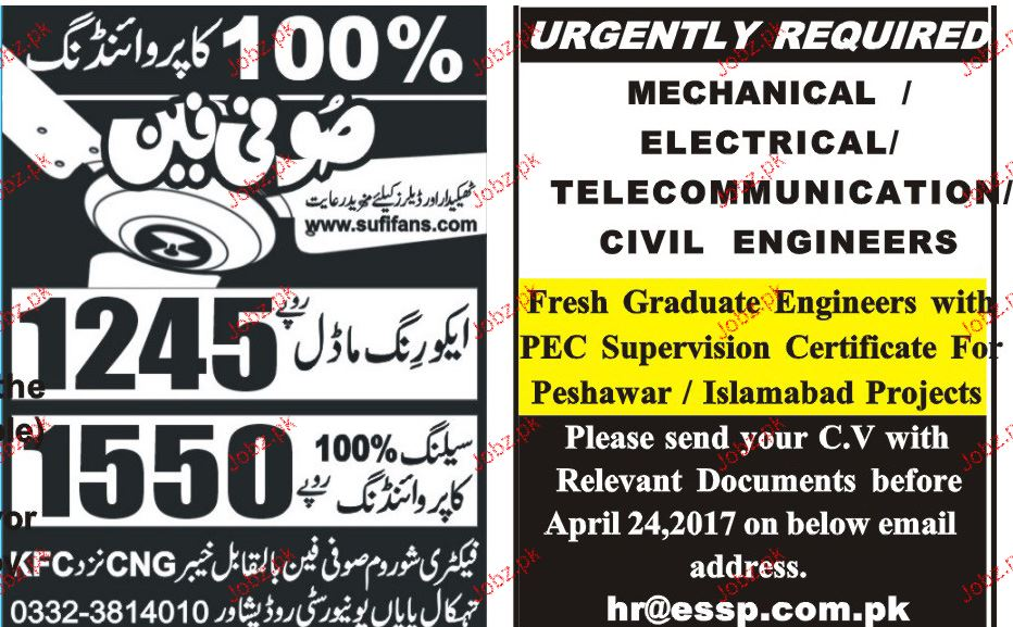 Electrical Engineers, Mechanical Engineers Job Opportunity
