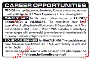 Manager Sales and Bio Medical Engineers Job Opportunity