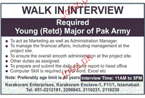Army Retired Major Job Opportunity
