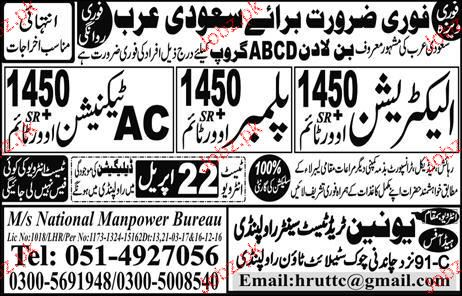 Electricians, Plumbers and AC Technicians Job Opportunity