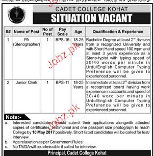 Stenographers and Junior Clerks Job in Cadet College