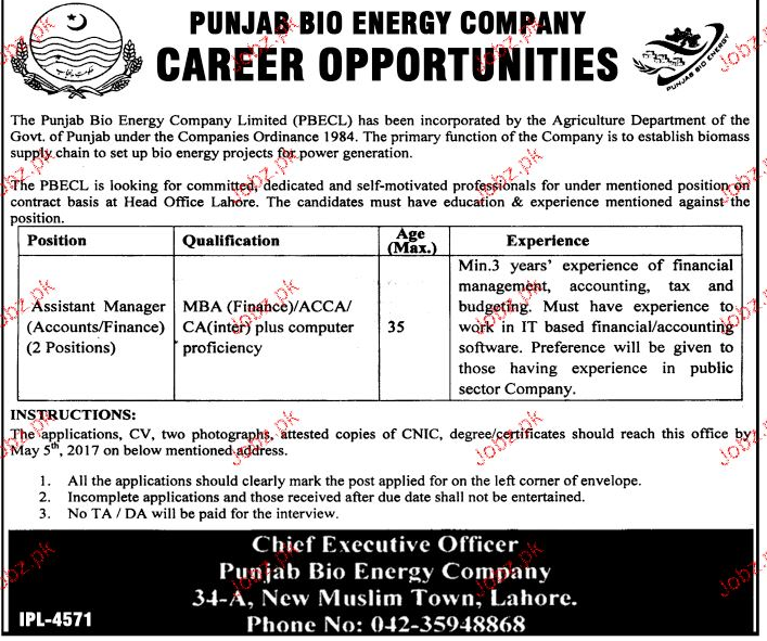 Assistant Managers Job in Punjab Bio Energy Company
