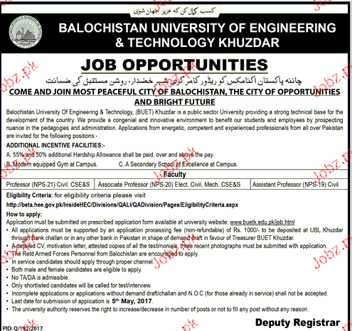 Professors Job in Balochistan University of Engineering