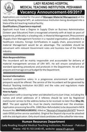 Material Management Manager required