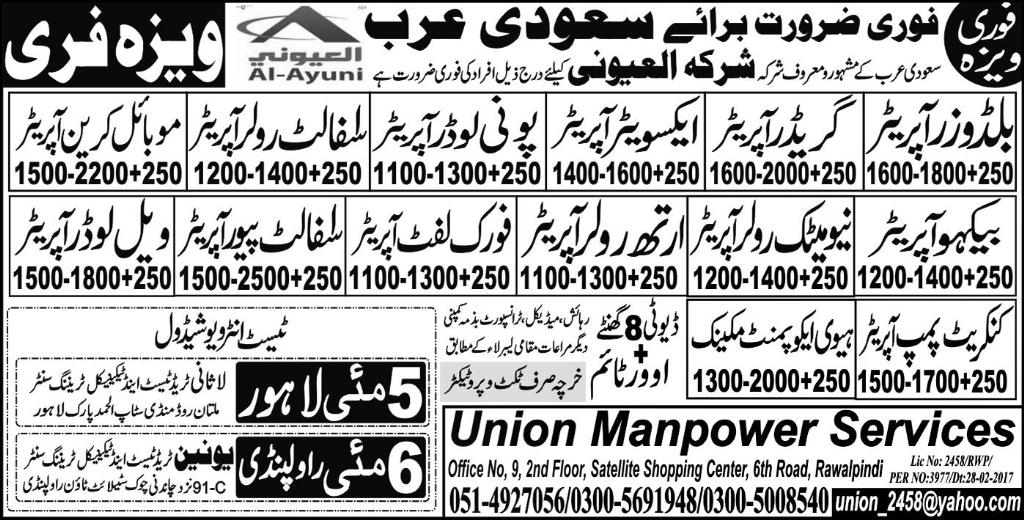 Varioues Staff Required for Sadi Arabia