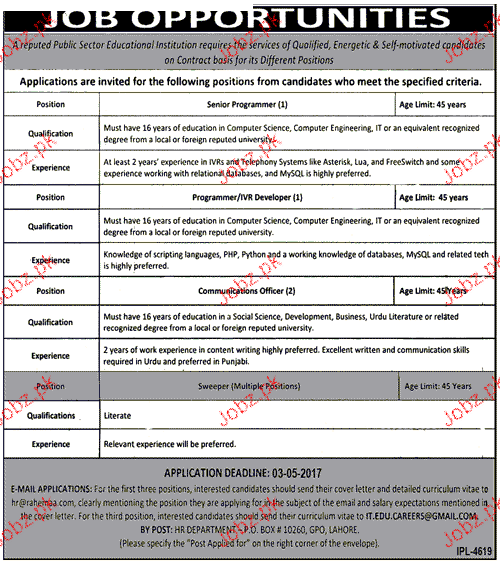 Senior Programmers and Communication Officers Wanted