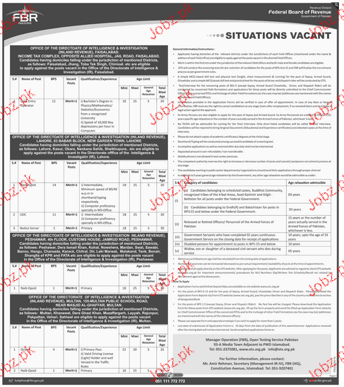 Data Entry Operators, UDC, LDC, Stenotypists Job n FBR 2019