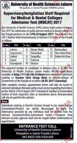 Supervisors and Invigilation Staff Job in UHS