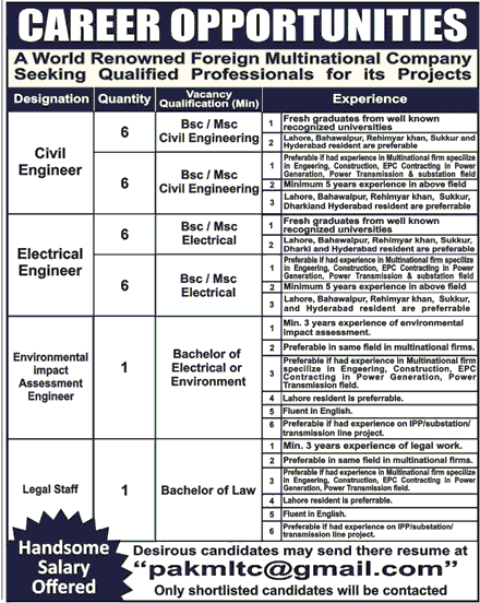Civil Engineers, Electrical Engineers Job Opportunity