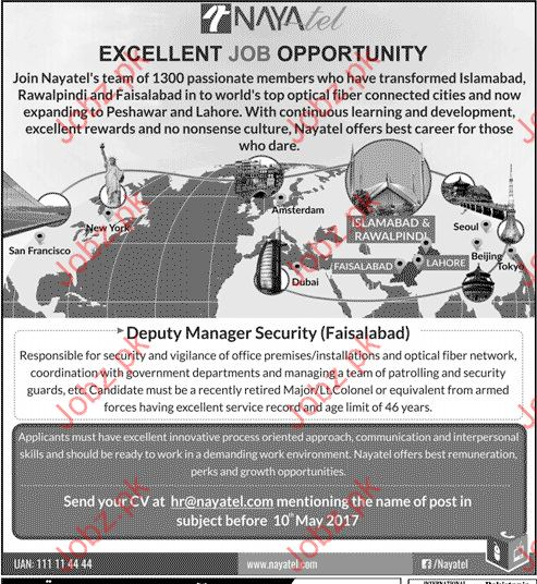 Deputy Manager Security Needed for Nayatel