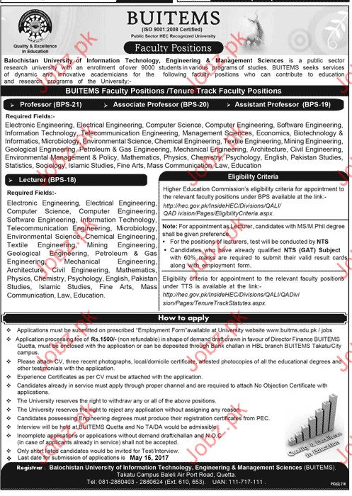 Professors and Lecturers Required