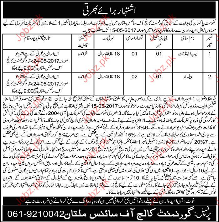 Lab Attendant required