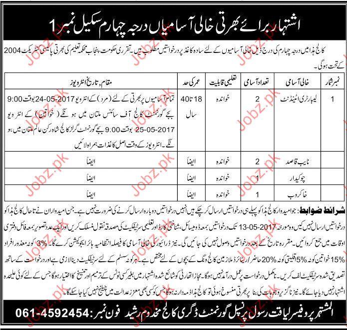 Lab Attendant and Naib Qasid Job Opportunity