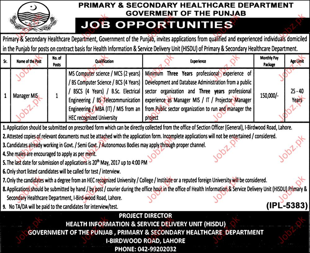 Manager MIS required