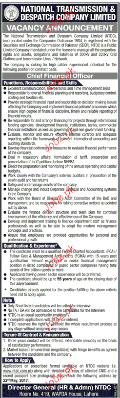 Chief Financial Officers Job in National Transmission