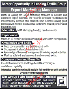 Jobs In Din Textile Mills Limited La For Export Marketing Manager 7 May 2017