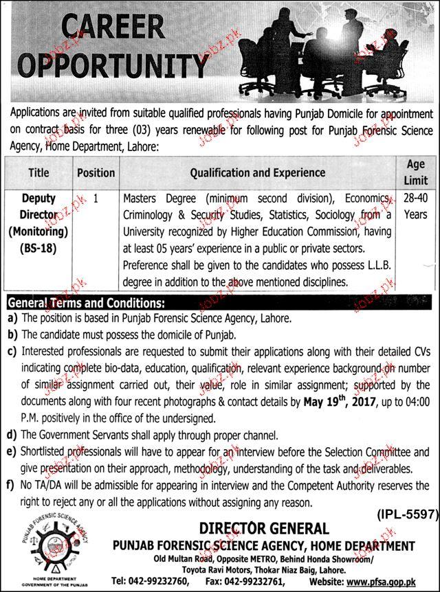 Deputy Director Monitoring Job in Punjab Forensic