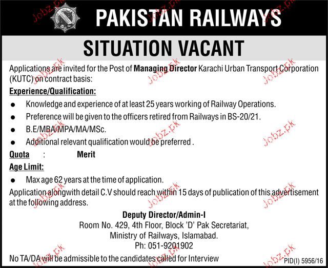 Managing Directors Job in Pakistan Railway