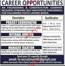 Project Coordinators, Internal Auditor Job Opportunity