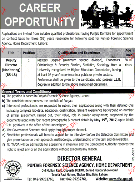 Punjab Forensic Science Agency Home Department Jobs