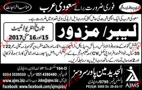 Labors Job Opportunity for Saudi Arabia