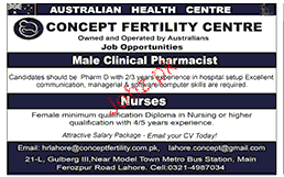 Male Clinical Pharmacist and Nurses Job Opportunity