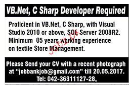 VB. Net, C Sharp Developers Job Opportunity