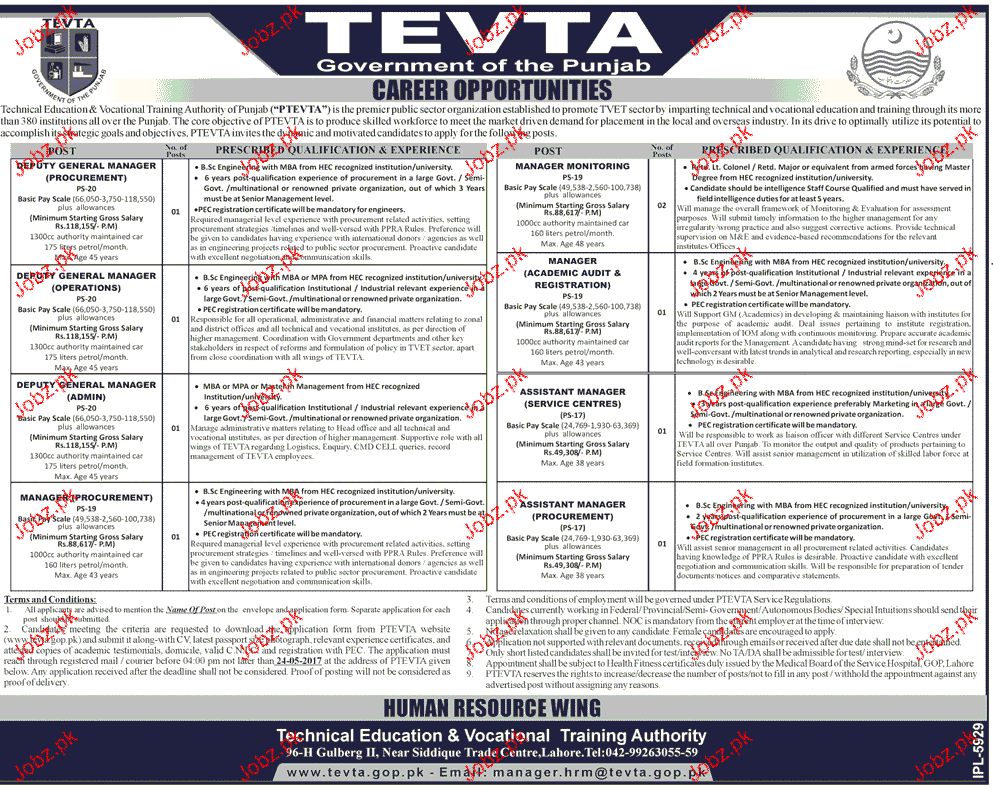 Management Jobs in TEVTA Government of Punjab