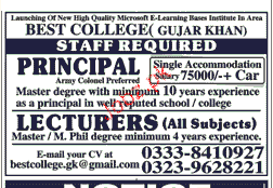 Principal and Lecturers Job in Best College Gujjar Khan
