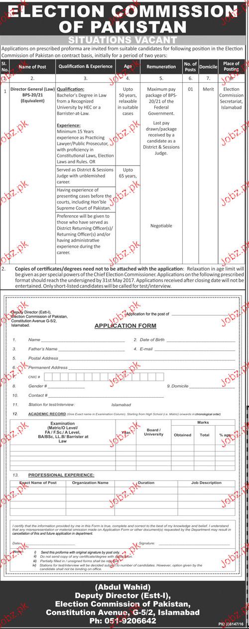 Election Commission of Pakistan ECP Management Job Open