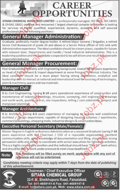 General Manager in Sitara Chemical Industry SCI