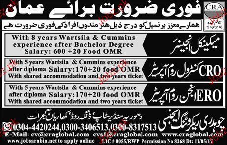 Mechanical Engineers, CRO Control Room Operators Wanted