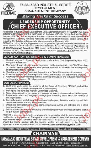 Sheif Executive Officer in Faisalabad Industrial Estat